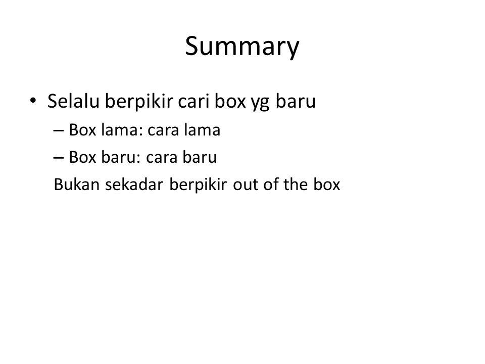 Summary Selalu berpikir cari box yg baru – Box lama: cara lama – Box baru: cara baru Bukan sekadar berpikir out of the box