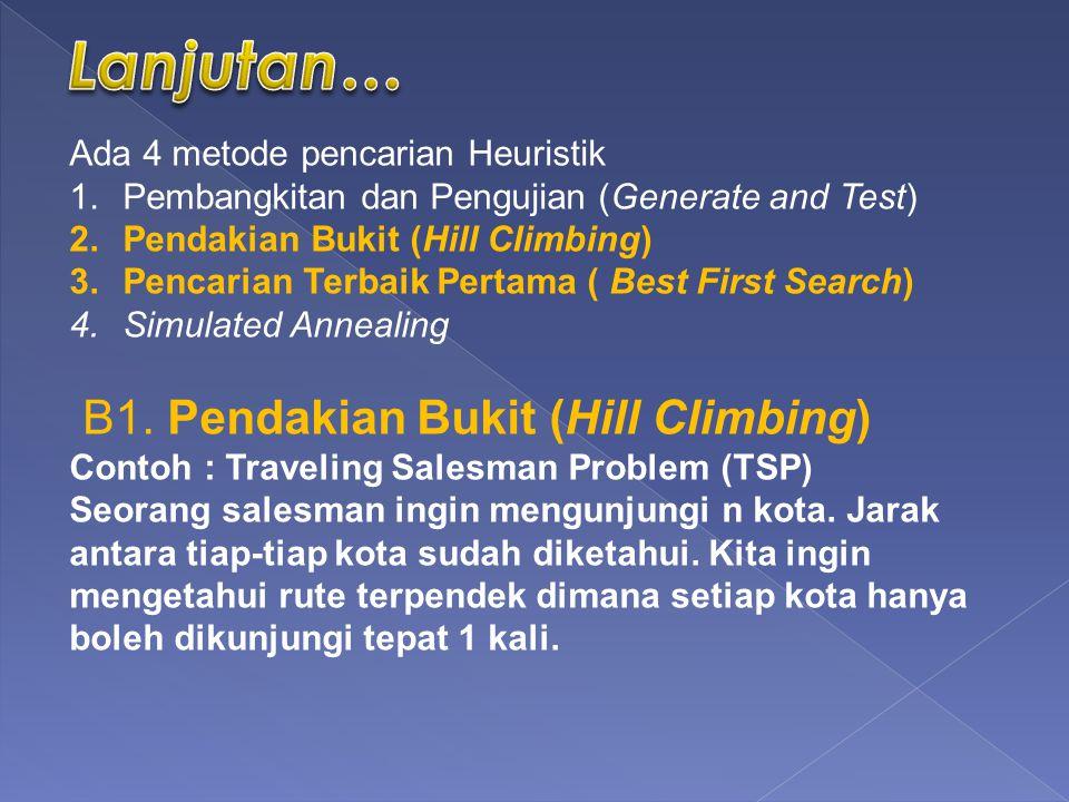 Ada 4 metode pencarian Heuristik 1.Pembangkitan dan Pengujian (Generate and Test) 2.Pendakian Bukit (Hill Climbing) 3.Pencarian Terbaik Pertama ( Best First Search) 4.Simulated Annealing B1.