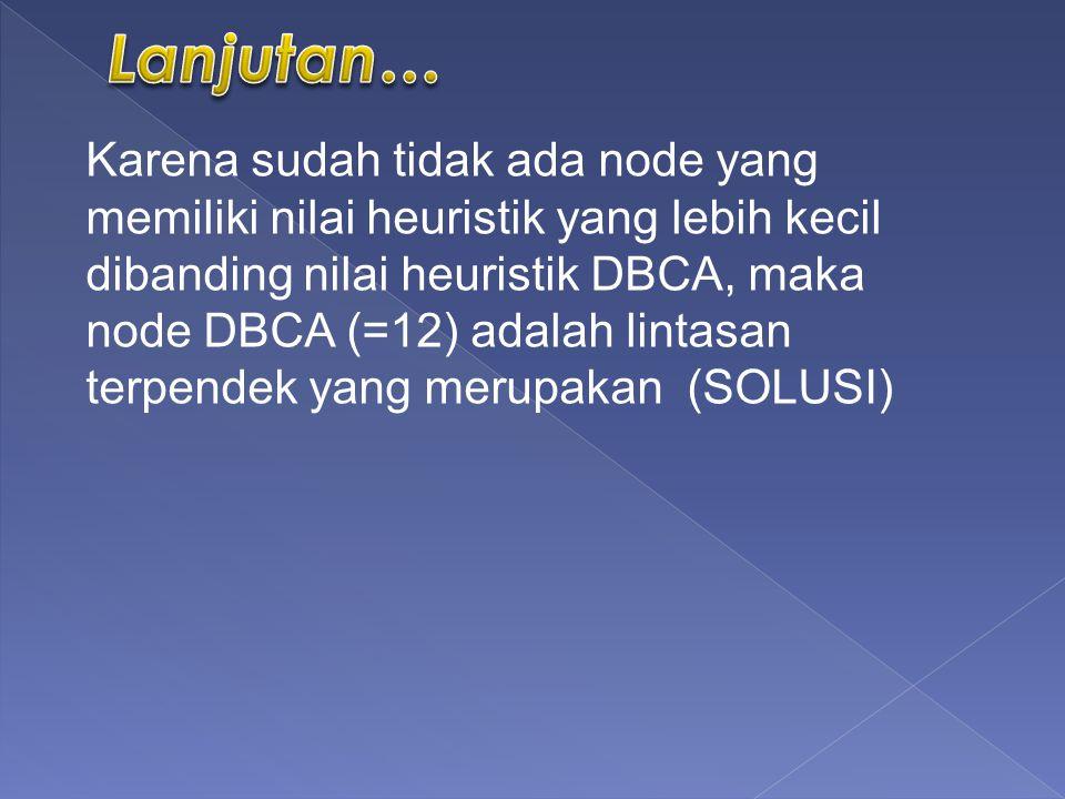 Karena sudah tidak ada node yang memiliki nilai heuristik yang lebih kecil dibanding nilai heuristik DBCA, maka node DBCA (=12) adalah lintasan terpendek yang merupakan (SOLUSI)