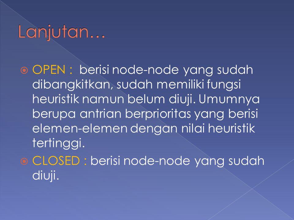  OPEN : berisi node-node yang sudah dibangkitkan, sudah memiliki fungsi heuristik namun belum diuji.