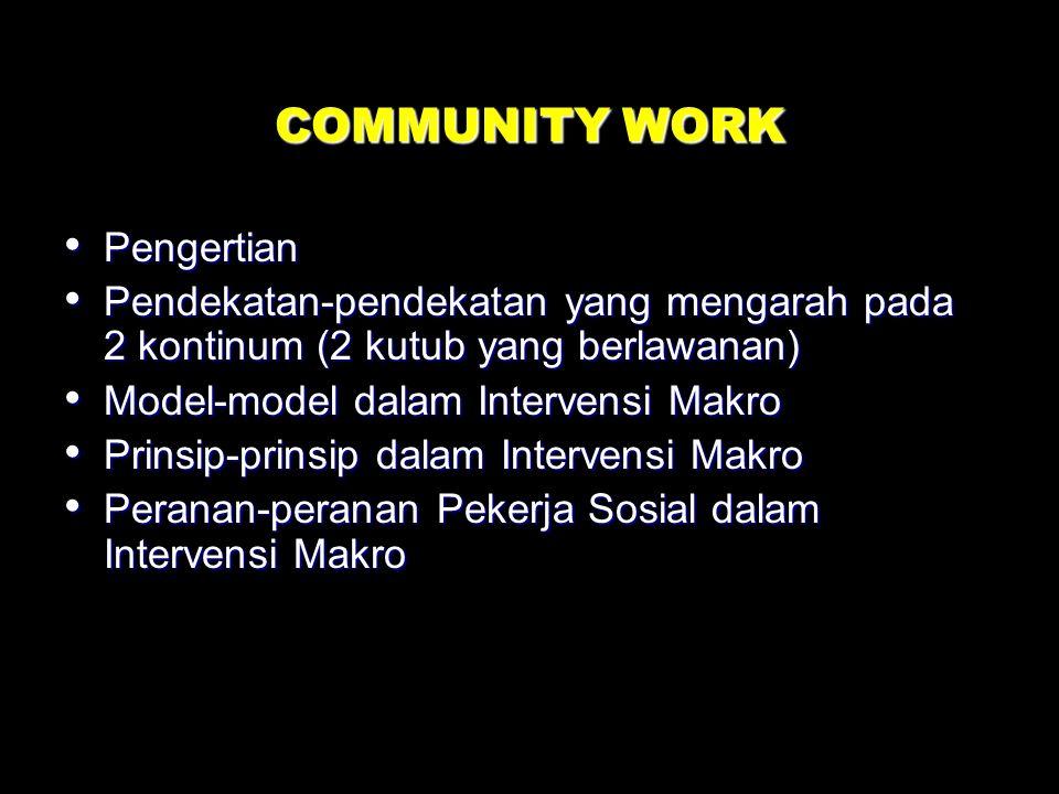 COMMUNITY WORK Pengertian Pendekatan-pendekatan yang mengarah pada 2 kontinum (2 kutub yang berlawanan) Model-model dalam Intervensi Makro Prinsip-prinsip dalam Intervensi Makro Peranan-peranan Pekerja Sosial dalam Intervensi Makro