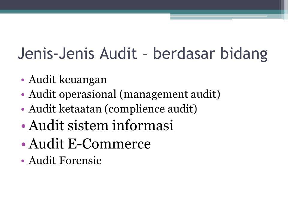 Jenis-Jenis Audit – berdasar bidang Audit keuangan Audit operasional (management audit) Audit ketaatan (complience audit) Audit sistem informasi Audit