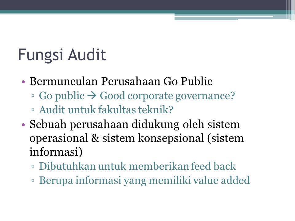 Fungsi Audit Bermunculan Perusahaan Go Public ▫Go public  Good corporate governance? ▫Audit untuk fakultas teknik? Sebuah perusahaan didukung oleh si
