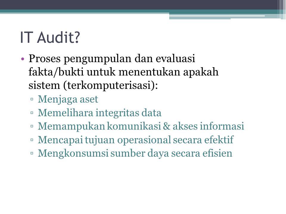 IT Audit? Proses pengumpulan dan evaluasi fakta/bukti untuk menentukan apakah sistem (terkomputerisasi): ▫Menjaga aset ▫Memelihara integritas data ▫Me