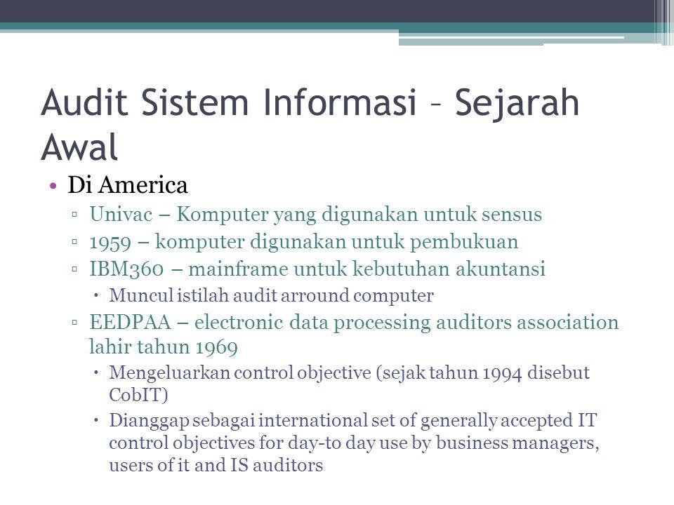 Audit Sistem Informasi – Sejarah Awal Di America ▫Univac – Komputer yang digunakan untuk sensus ▫1959 – komputer digunakan untuk pembukuan ▫IBM360 – m