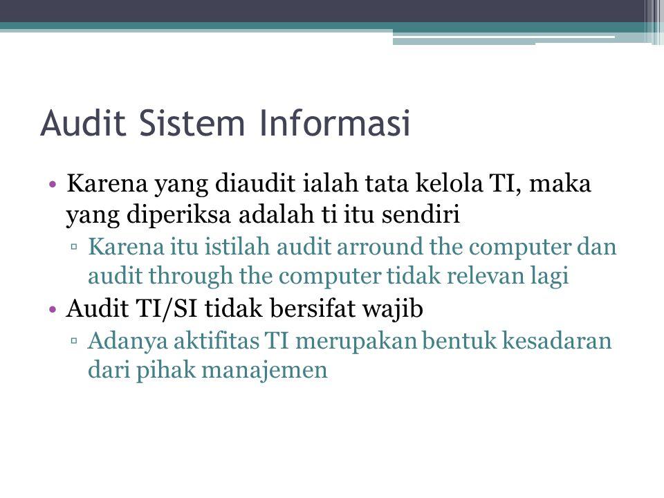 Audit Sistem Informasi Karena yang diaudit ialah tata kelola TI, maka yang diperiksa adalah ti itu sendiri ▫Karena itu istilah audit arround the compu