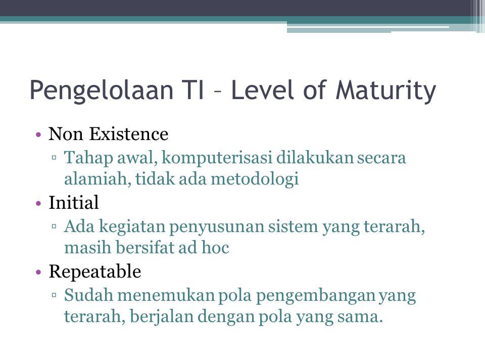 Pengelolaan TI – Level of Maturity Non Existence ▫Tahap awal, komputerisasi dilakukan secara alamiah, tidak ada metodologi Initial ▫Ada kegiatan penyu