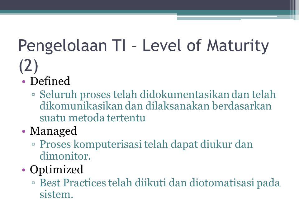 Pengelolaan TI – Level of Maturity (2) Defined ▫Seluruh proses telah didokumentasikan dan telah dikomunikasikan dan dilaksanakan berdasarkan suatu met