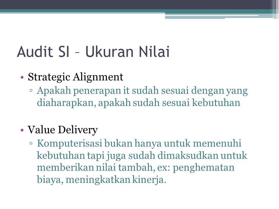 Audit SI – Ukuran Nilai Strategic Alignment ▫Apakah penerapan it sudah sesuai dengan yang diaharapkan, apakah sudah sesuai kebutuhan Value Delivery ▫K