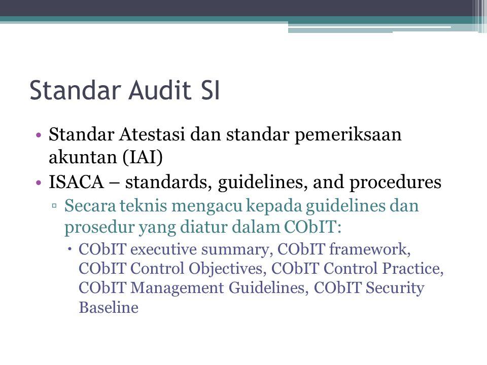Standar Audit SI Standar Atestasi dan standar pemeriksaan akuntan (IAI) ISACA – standards, guidelines, and procedures ▫Secara teknis mengacu kepada gu