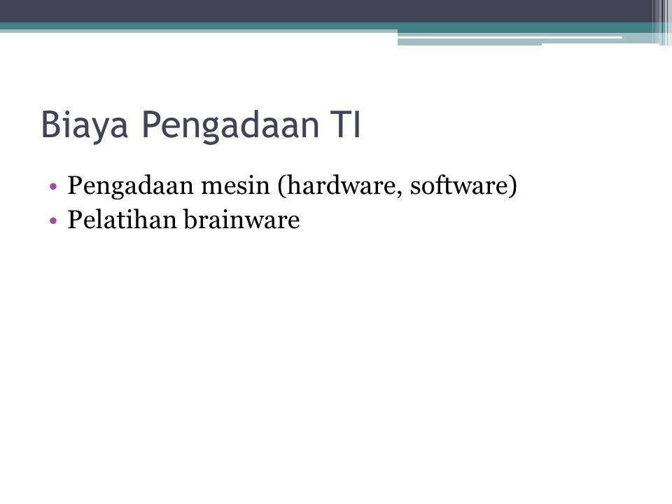Biaya Pengadaan TI Pengadaan mesin (hardware, software) Pelatihan brainware
