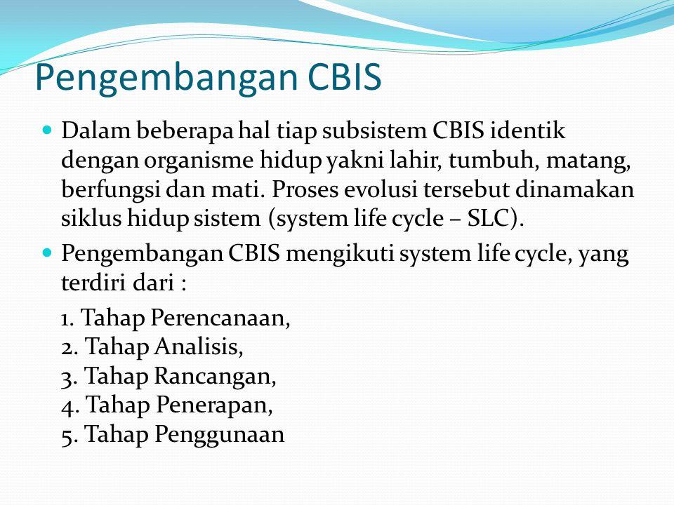 Pengembangan CBIS Dalam beberapa hal tiap subsistem CBIS identik dengan organisme hidup yakni lahir, tumbuh, matang, berfungsi dan mati. Proses evolus