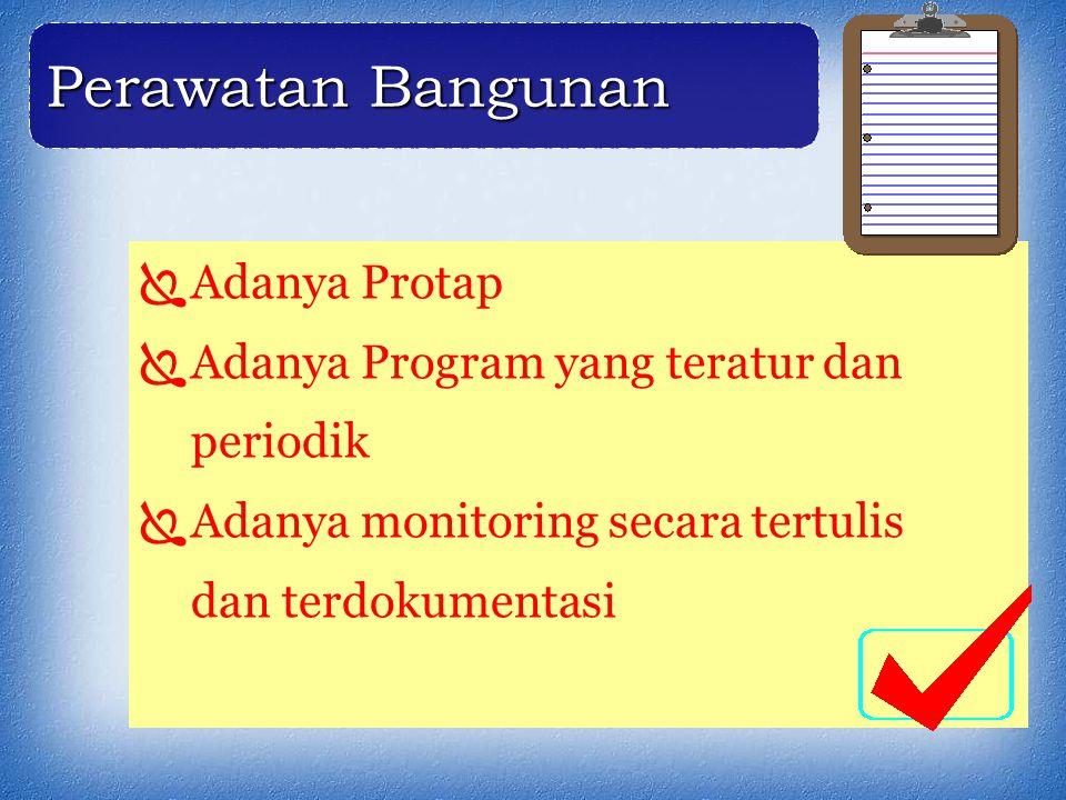  Adanya Protap  Adanya Program yang teratur dan periodik  Adanya monitoring secara tertulis dan terdokumentasi Perawatan Bangunan