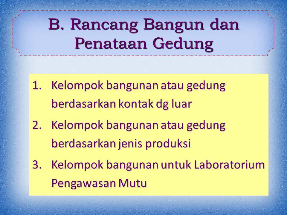 1.Kelompok bangunan atau gedung berdasarkan kontak dg luar 2.Kelompok bangunan atau gedung berdasarkan jenis produksi 3.Kelompok bangunan untuk Laboratorium Pengawasan Mutu B.