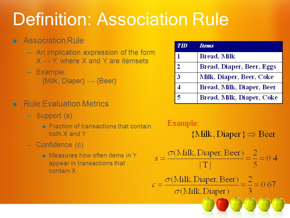 Definition: Association Rule Example: l Association Rule –An implication expression of the form X  Y, where X and Y are itemsets –Example: {Milk, Diaper}  {Beer} l Rule Evaluation Metrics –Support (s)  Fraction of transactions that contain both X and Y –Confidence (c)  Measures how often items in Y appear in transactions that contain X