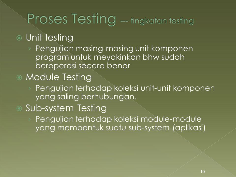  Unit testing › Pengujian masing-masing unit komponen program untuk meyakinkan bhw sudah beroperasi secara benar  Module Testing › Pengujian terhada