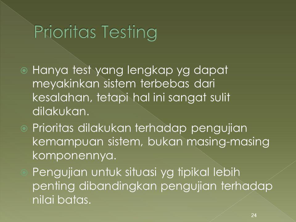 Hanya test yang lengkap yg dapat meyakinkan sistem terbebas dari kesalahan, tetapi hal ini sangat sulit dilakukan.  Prioritas dilakukan terhadap pe