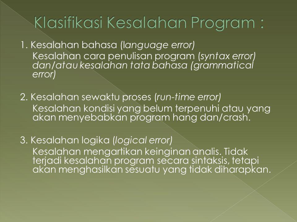 1. Kesalahan bahasa (language error) Kesalahan cara penulisan program (syntax error) dan/atau kesalahan tata bahasa (grammatical error) 2. Kesalahan s