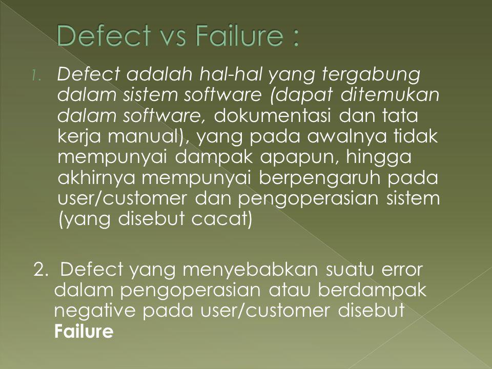 1. Defect adalah hal-hal yang tergabung dalam sistem software (dapat ditemukan dalam software, dokumentasi dan tata kerja manual), yang pada awalnya t