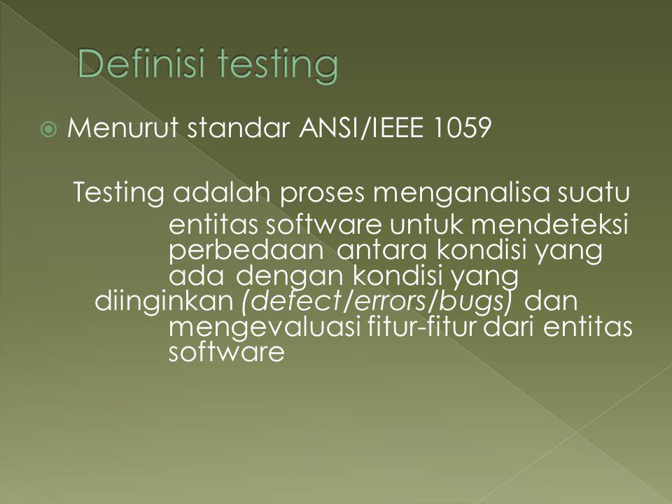  Menurut standar ANSI/IEEE 1059 Testing adalah proses menganalisa suatu entitas software untukmendeteksi perbedaan antara kondisi yang ada dengan kon