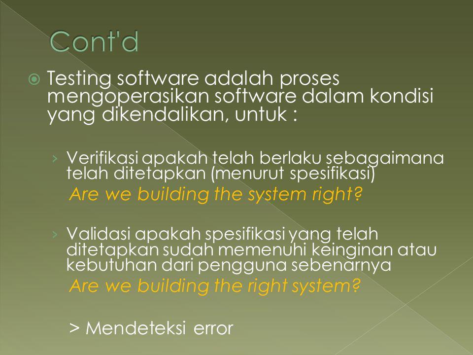  Testing software adalah proses mengoperasikan software dalam kondisi yang dikendalikan, untuk : › Verifikasi apakah telah berlaku sebagaimana telah