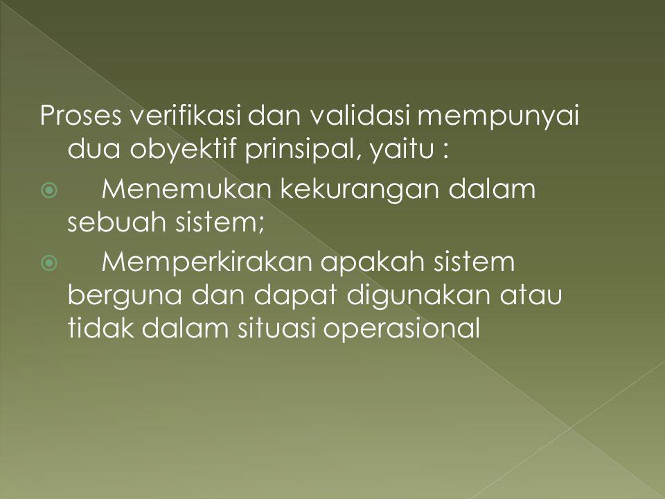 Proses verifikasi dan validasi mempunyai dua obyektif prinsipal, yaitu :  Menemukan kekurangan dalam sebuah sistem;  Memperkirakan apakah sistem ber