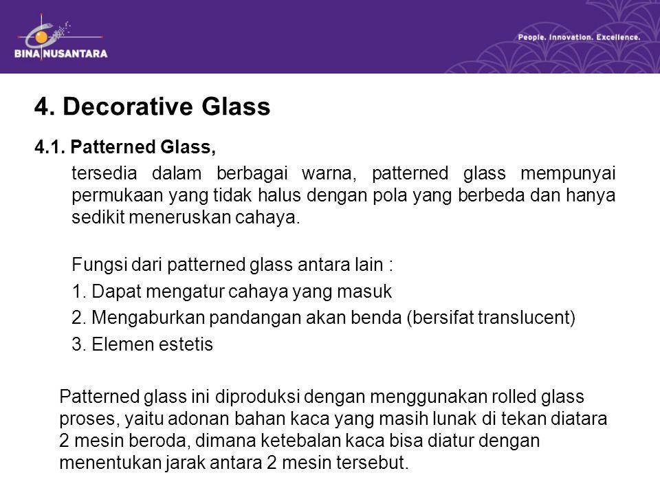 4. Decorative Glass 4.1. Patterned Glass, tersedia dalam berbagai warna, patterned glass mempunyai permukaan yang tidak halus dengan pola yang berbeda