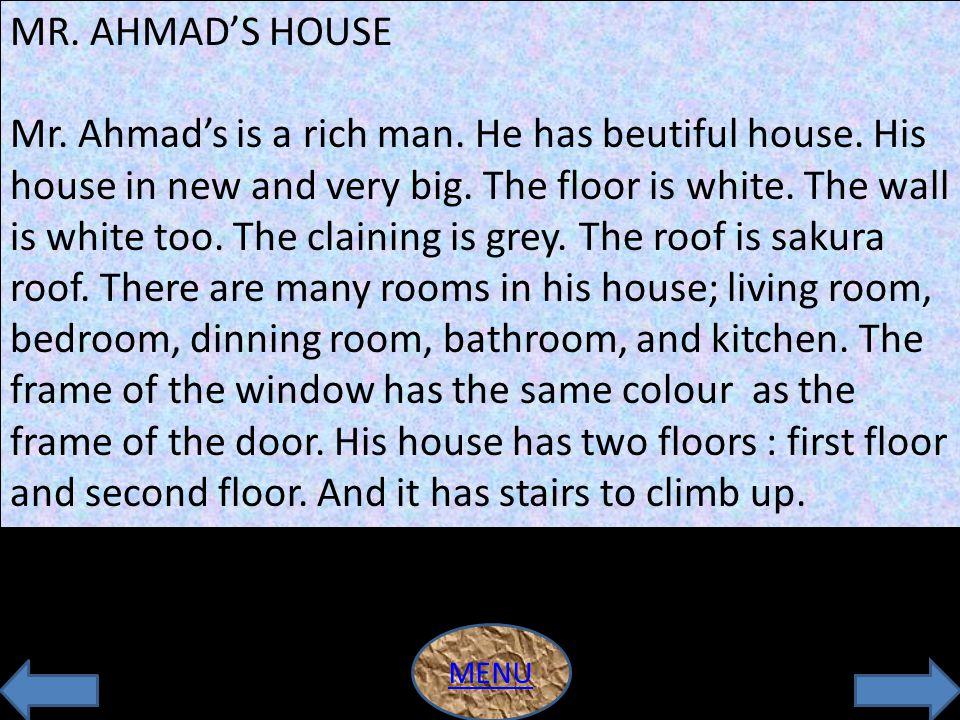 PRACTICE 1 RUMAH MEANING OF THINGS HOUSE FLOOR ROOM WINDOW WALL HOUSE FLOOR ROOM WINDOW WALL LANTAI RUANGAN JENDELA DINDING MENU
