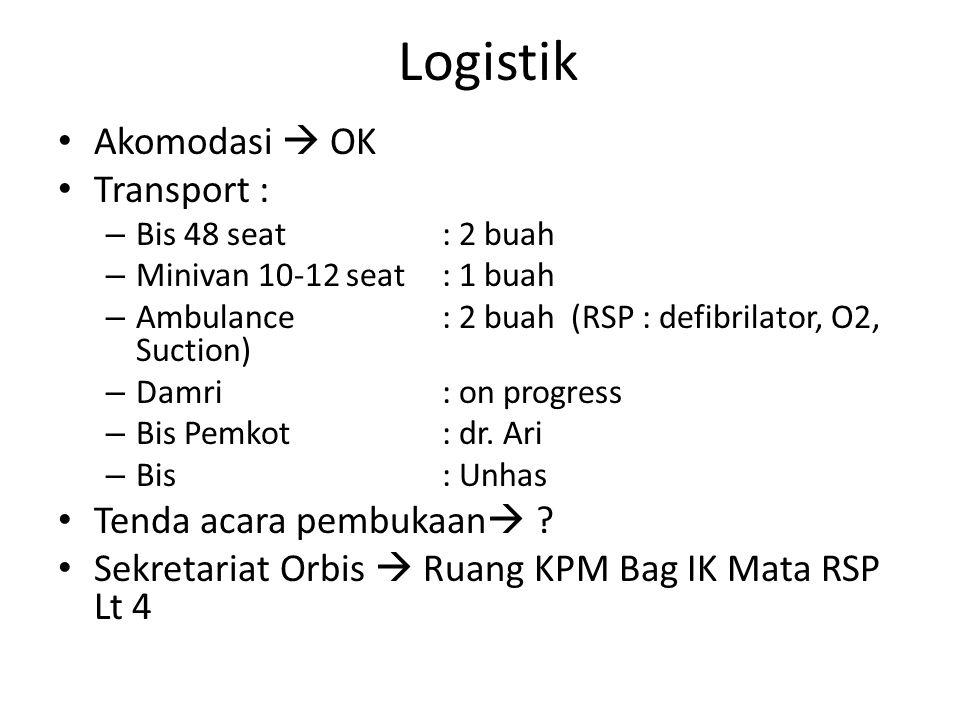 Logistik Akomodasi  OK Transport : – Bis 48 seat : 2 buah – Minivan 10-12 seat : 1 buah – Ambulance: 2 buah (RSP : defibrilator, O2, Suction) – Damri : on progress – Bis Pemkot : dr.