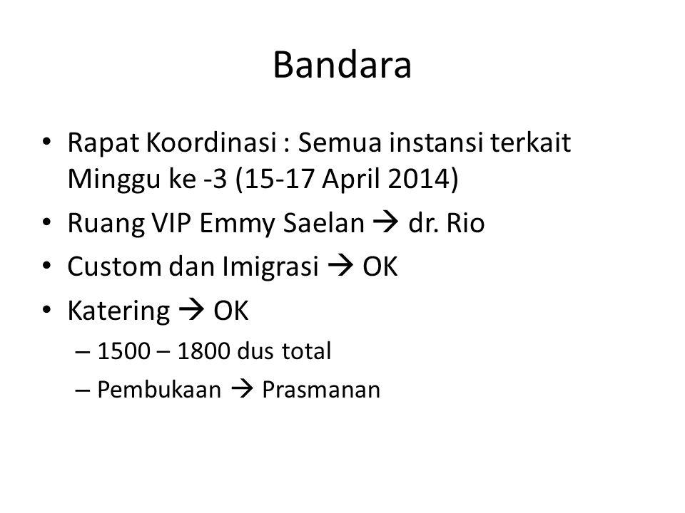 Bandara Rapat Koordinasi : Semua instansi terkait Minggu ke -3 (15-17 April 2014) Ruang VIP Emmy Saelan  dr. Rio Custom dan Imigrasi  OK Katering 