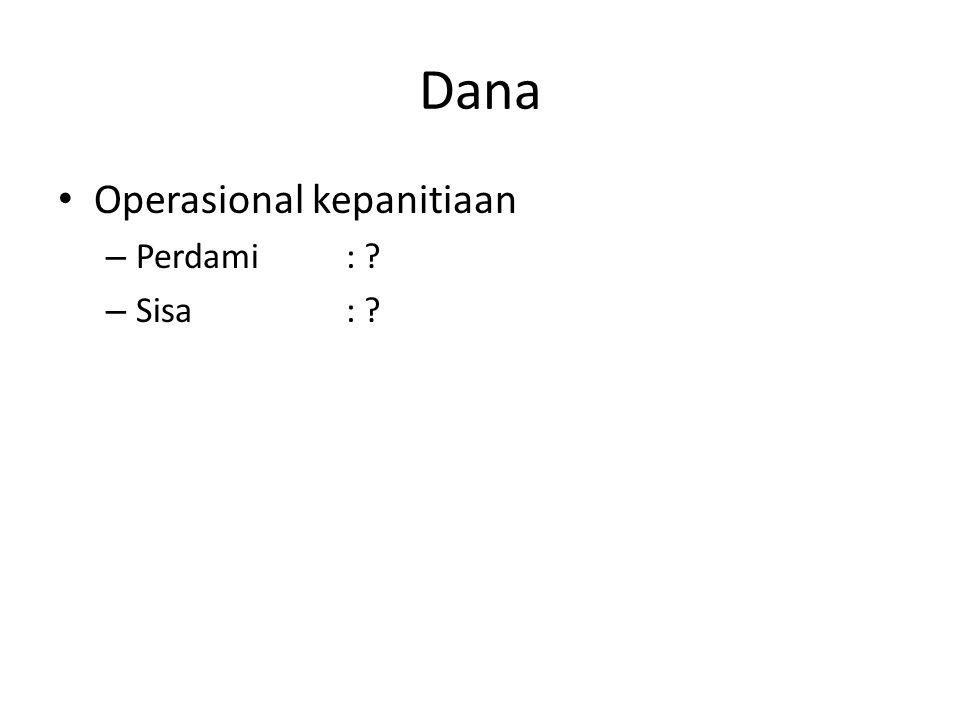 Dana Operasional kepanitiaan – Perdami : ? – Sisa : ?