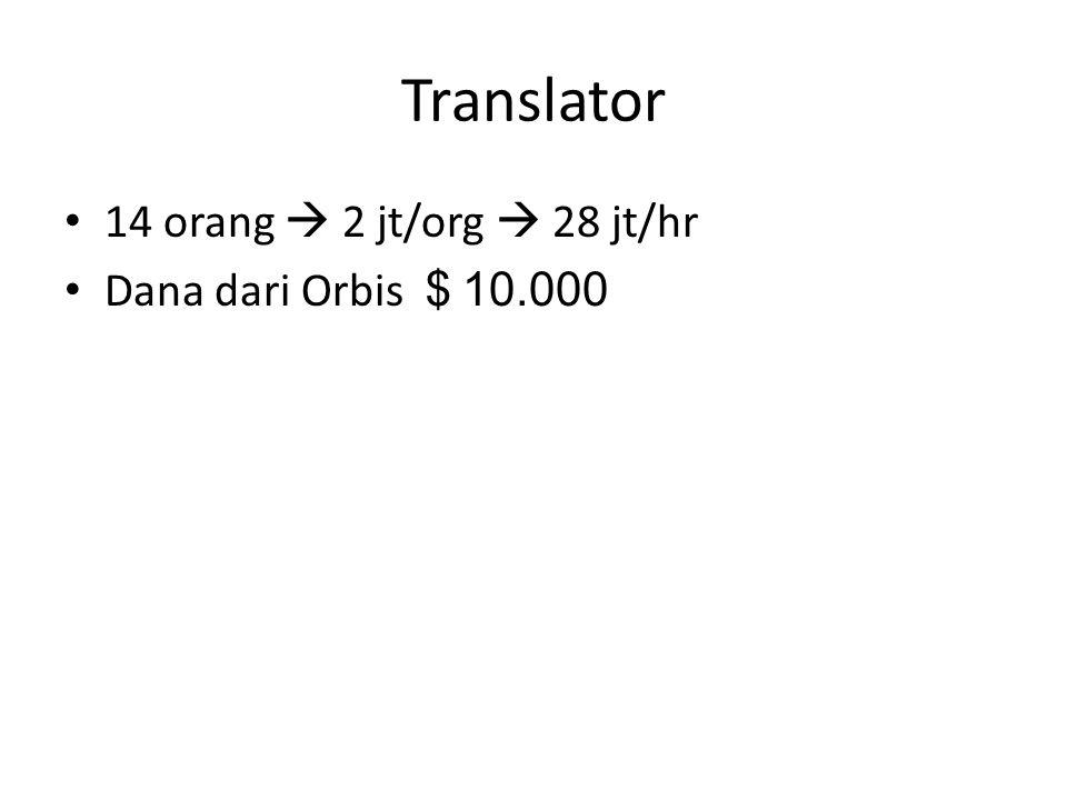 Translator 14 orang  2 jt/org  28 jt/hr Dana dari Orbis $ 10.000