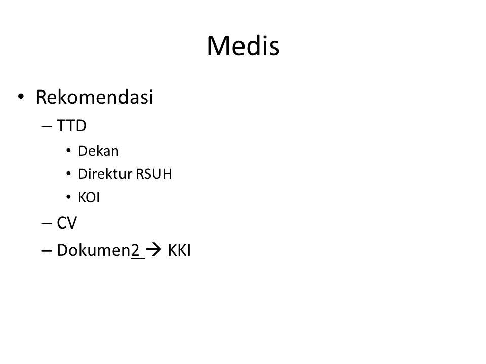 Medis Rekomendasi – TTD Dekan Direktur RSUH KOI – CV – Dokumen2  KKI