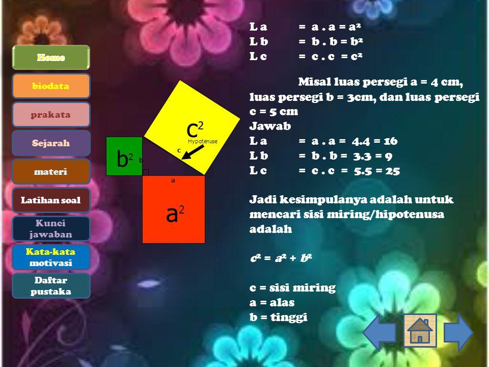 L a= a. a = a² L b= b. b = b² L c= c. c = c² Misal luas persegi a = 4 cm, luas persegi b = 3cm, dan luas persegi c = 5 cm Jawab L a= a. a = 4.4 = 16 L