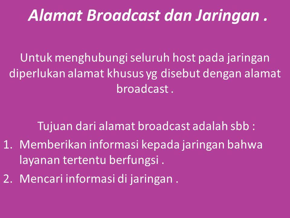 Alamat Broadcast dan Jaringan.