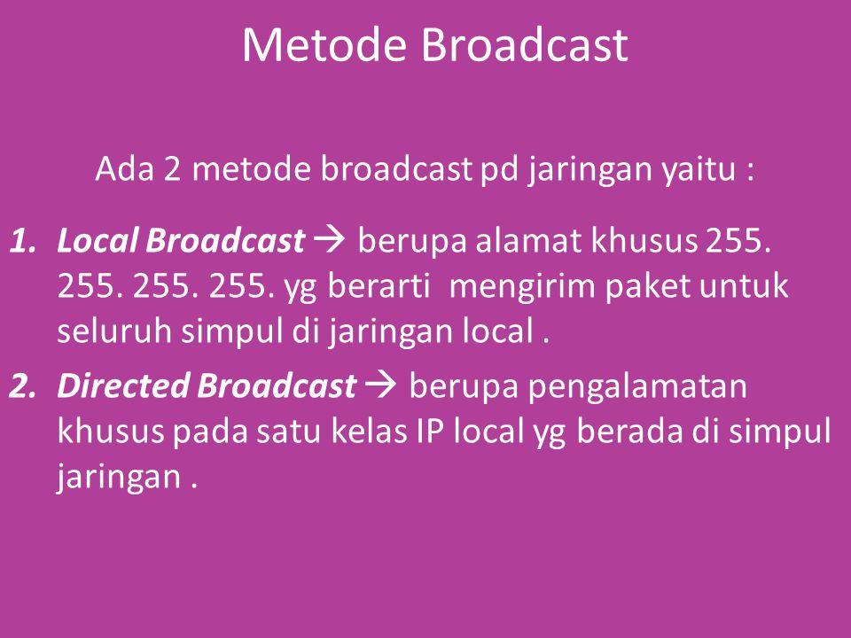 Metode Broadcast Ada 2 metode broadcast pd jaringan yaitu : 1.Local Broadcast  berupa alamat khusus 255.