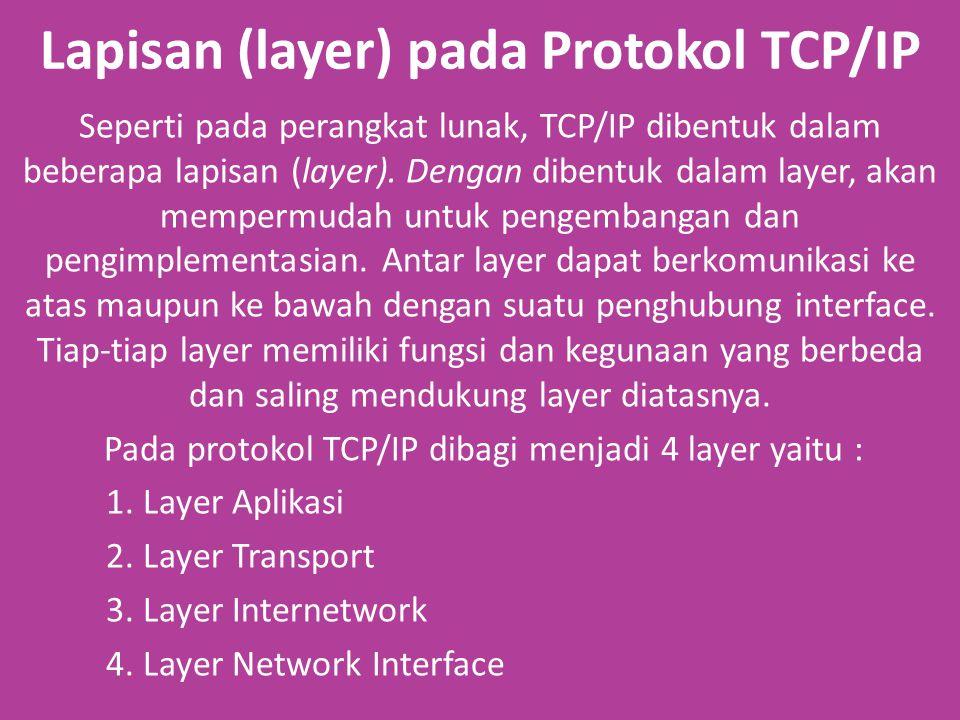 Lapisan (layer) pada Protokol TCP/IP Seperti pada perangkat lunak, TCP/IP dibentuk dalam beberapa lapisan (layer).