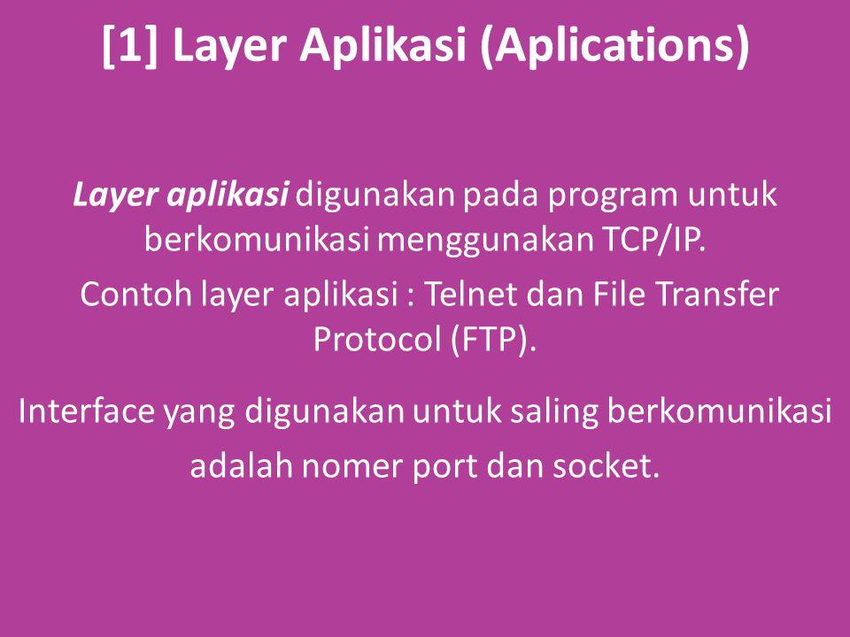 [1] Layer Aplikasi (Aplications) Layer aplikasi digunakan pada program untuk berkomunikasi menggunakan TCP/IP.