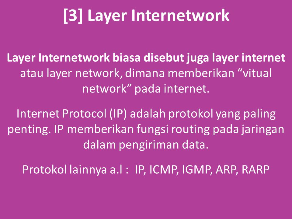 [3] Layer Internetwork Layer Internetwork biasa disebut juga layer internet atau layer network, dimana memberikan vitual network pada internet.