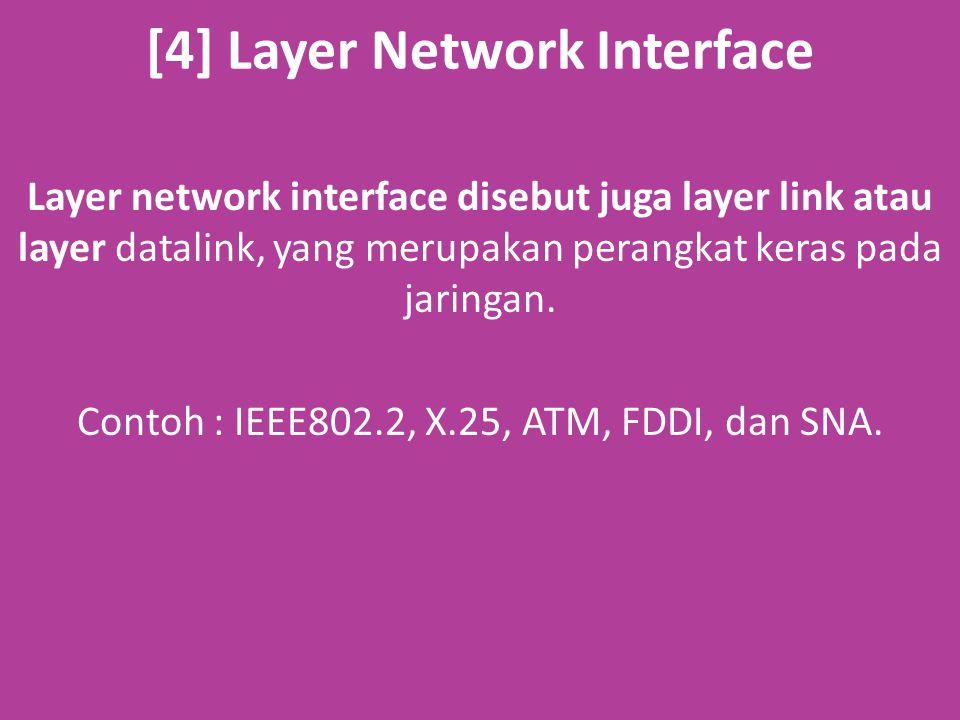 [4] Layer Network Interface Layer network interface disebut juga layer link atau layer datalink, yang merupakan perangkat keras pada jaringan.