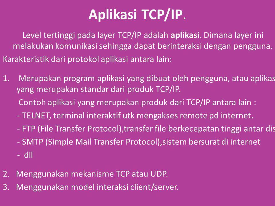 Aplikasi TCP/IP. Level tertinggi pada layer TCP/IP adalah aplikasi.
