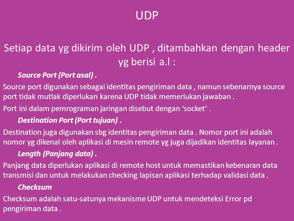 UDP Setiap data yg dikirim oleh UDP, ditambahkan dengan header yg berisi a.l : Source Port (Port asal).