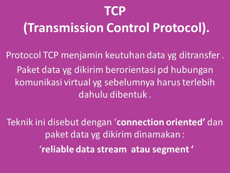TCP (Transmission Control Protocol). Protocol TCP menjamin keutuhan data yg ditransfer.