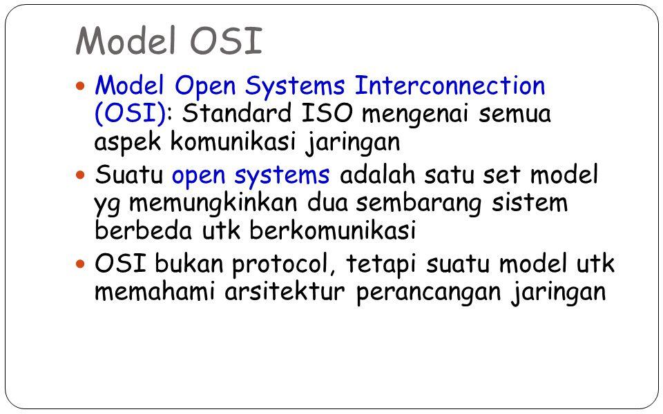 Model OSI Model Open Systems Interconnection (OSI): Standard ISO mengenai semua aspek komunikasi jaringan Suatu open systems adalah satu set model yg