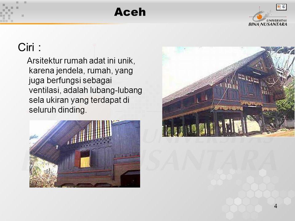5 Aceh Ciri : Rumah adat Aceh dilihat dari samping, tampak tiang yang terbuat dari kayu gelondongan bulat dengan pondasi/umpak dari batu alam atau semen