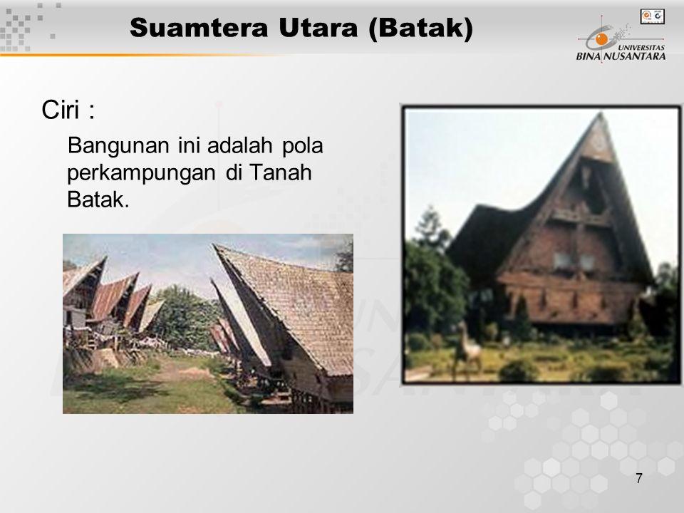 8 Sumatera Barat (Rumah Gadang) Ciri : Atap bergonjong, Bodi ( sesuai dengan pola pemerintahan : Koto piliang/ arsistocratic dan Bodi chaniago/ democratic )