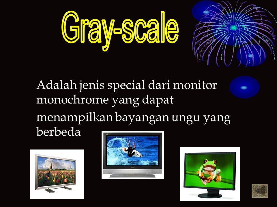 Adalah jenis special dari monitor monochrome yang dapat menampilkan bayangan ungu yang berbeda