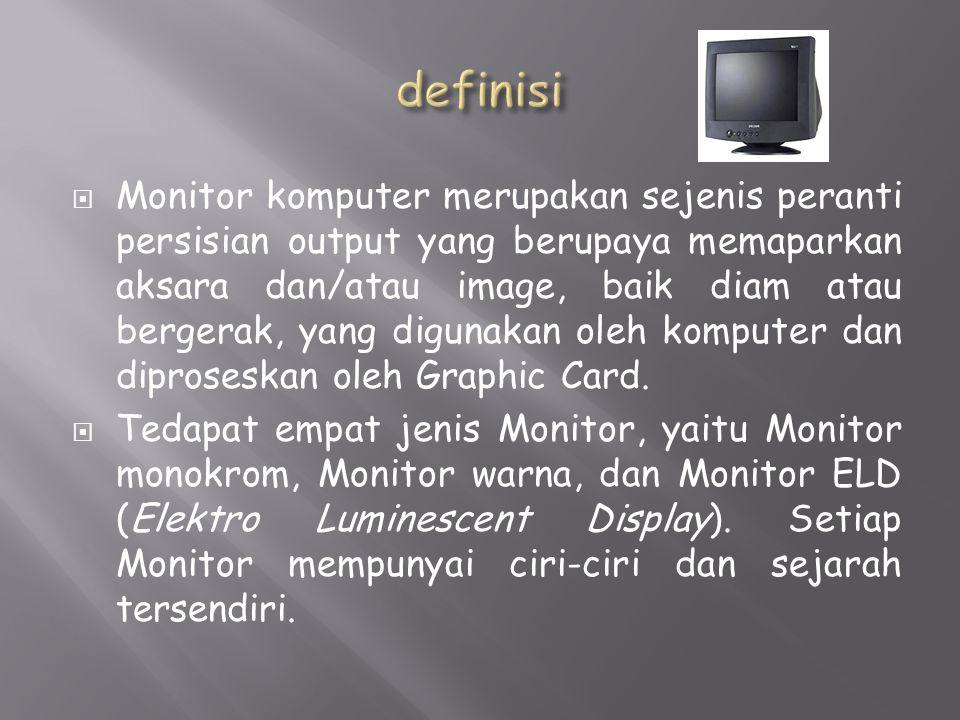  Monitor komputer merupakan sejenis peranti persisian output yang berupaya memaparkan aksara dan/atau image, baik diam atau bergerak, yang digunakan