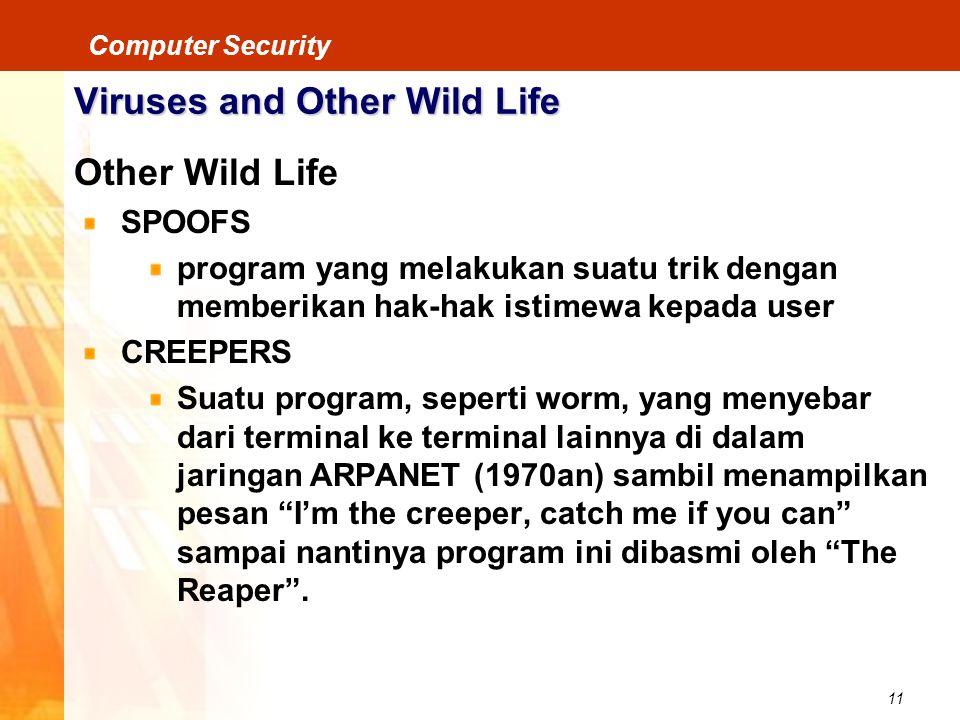 11 Computer Security Viruses and Other Wild Life Other Wild Life SPOOFS program yang melakukan suatu trik dengan memberikan hak-hak istimewa kepada us