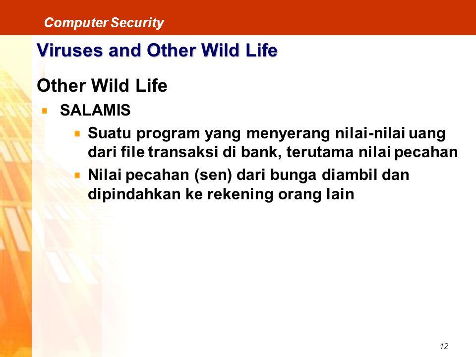 12 Computer Security Viruses and Other Wild Life Other Wild Life SALAMIS Suatu program yang menyerang nilai-nilai uang dari file transaksi di bank, te